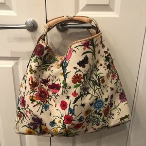 GUCCI Floral Canvas Large Horsebit Hobo Bag